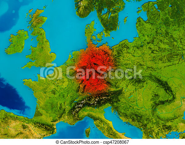 Map Of Germany 3d.Germany On Physical Map Germany Highlighted In Red On Physical Map