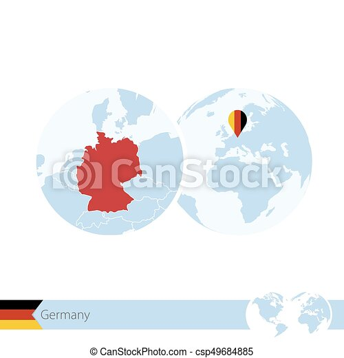 germany on world globe with flag and regional map of germany csp49684885