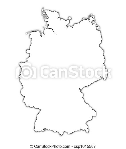 Outline Map Of Germany.Germany Outline Map With Shadow Detailed Mercator Projection