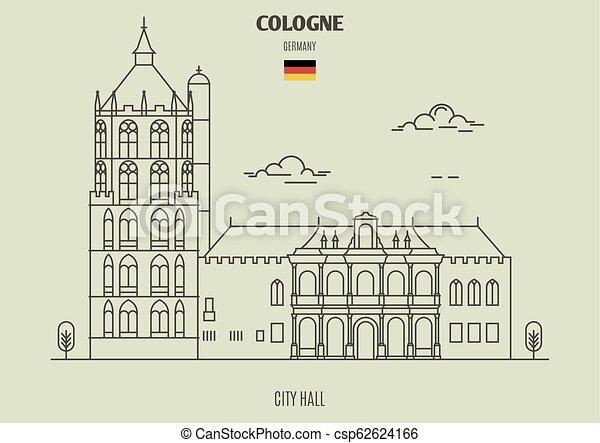 germany., repère, cologne, hôtel ville, icône - csp62624166
