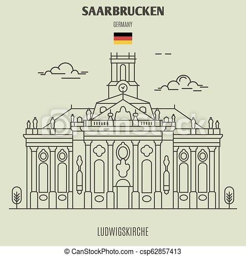 germany., repère, ludwigskirche, icône, saarbrucken - csp62857413