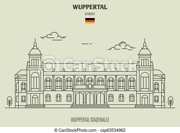 germany., repère, stadthalle, icône, wuppertal, wuppertal - csp63534962