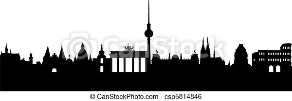 Germany Silhouette Abstract On White
