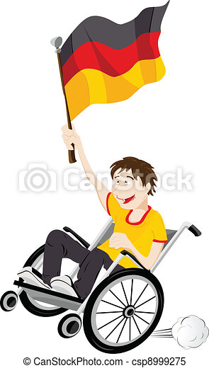 Germany Sport Fan Supporter on Wheelchair with Flag - csp8999275