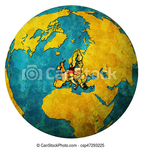 Map Of Germany Over The Years.Germany Territory With Flag Over Globe Map