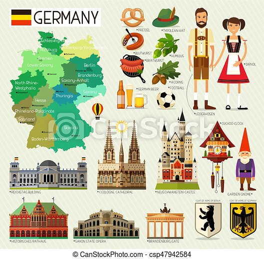 map of germany and travel iconsgermany travel map vector illustration