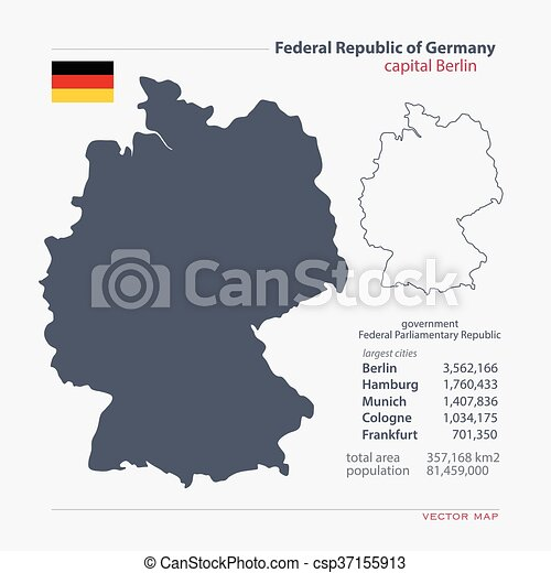 Germany Federal Republic Of Germany Isolated Maps And Official Flag