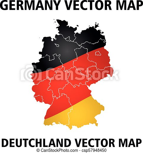 Germany vector map. Colors of national flag - csp57948450