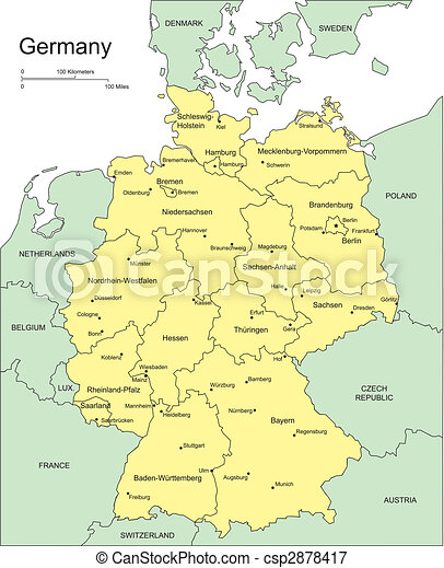 Map Of Countries Surrounding Germany.Germany With Administrative Districts And Surrounding Countries