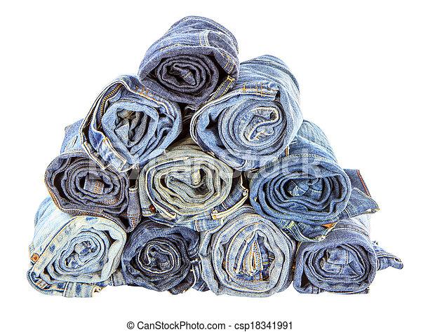 gerolde, jeans, vrijstaand, achtergrond, witte , stapel - csp18341991