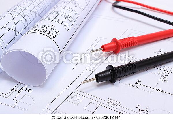 Gerollt, haus, multimeter, elektrisch, kabel, zeichnung ...