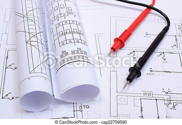 Gerollt, haus, multimeter, elektrisch, kabel, zeichnung, diagramme ...
