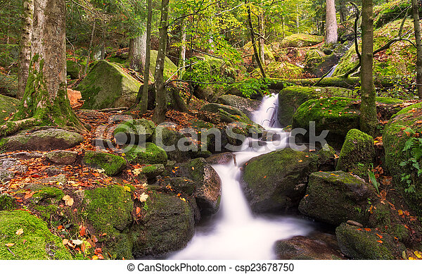 Gertelsbacher Waterfalls in autumn, Black Forest, Germany - csp23678750
