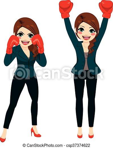 Geschäftsfrau Boxkämpfer - csp37374622
