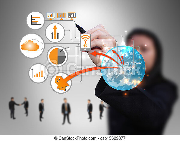 geschäftsfrau, design, technologie, vernetzung - csp15623877