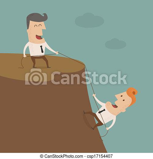 Geschäftsmann auf einem Felsen - csp17154407