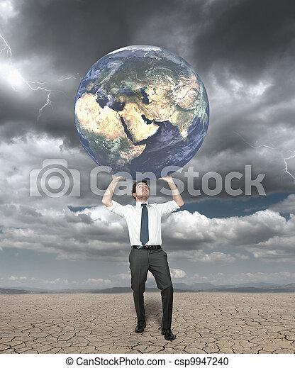 Geschäftsmann schützt die Welt - csp9947240