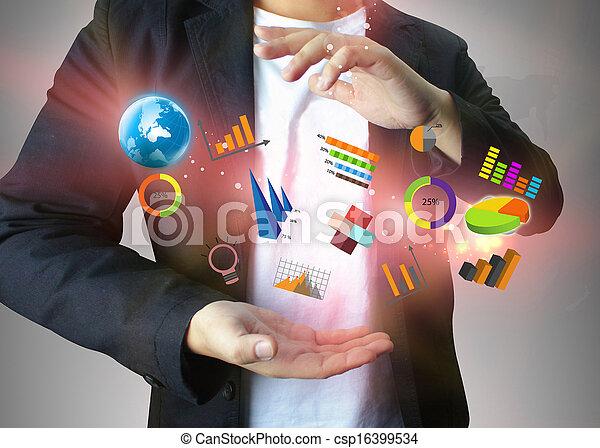 Geschäftsmann mit sozialen Medien - csp16399534