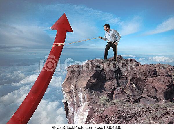 Der Geschäftsmann versucht, die Statistik zu erhöhen - csp10664386