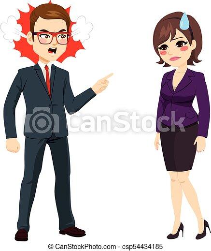 Geschäftsmann feuert Geschäftsfrau - csp54434185