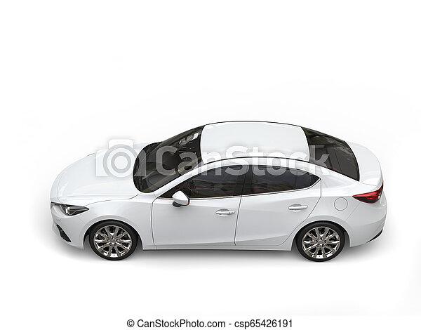 Klares, modernes, schnelles, weißes Auto - oben nach unten - csp65426191