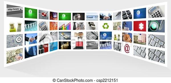 geschaeftswelt, fernsehapparat, großer schirm, internet, tafel - csp2212151