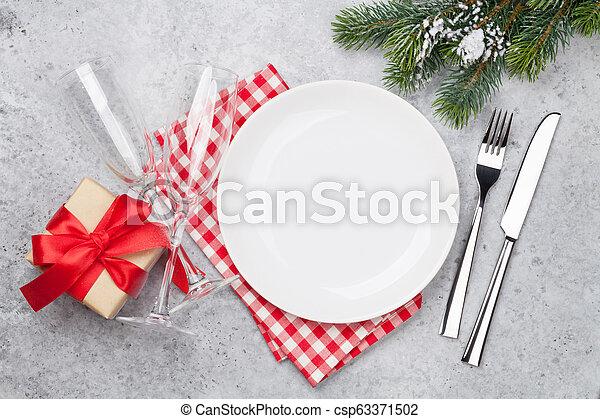 geschenk, weihnachten, setzend tisch, champagner, weihnachten - csp63371502