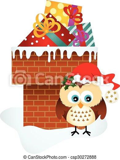 Geschenke Eule Weihnachten Schornstein Eule Bild Vectorial