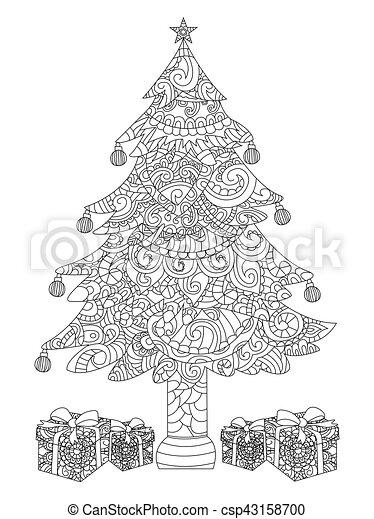 Geschenke, färbung, baum, weihnachten, vektor. Färbung,... Vektor ...