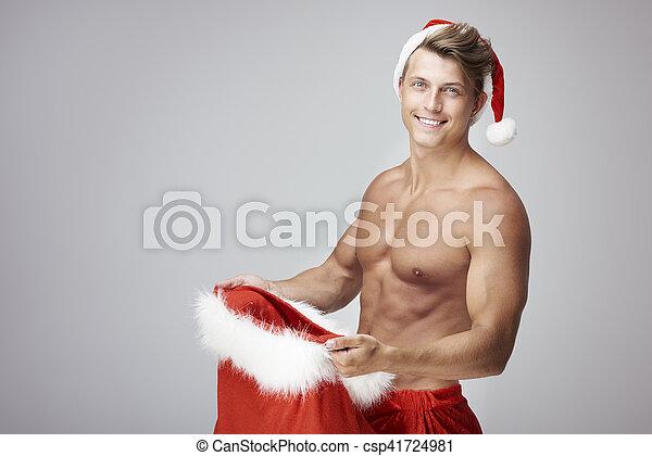 geschenke mann weihnachten sack h bsch bilder fotografien und foto clipart suchen. Black Bedroom Furniture Sets. Home Design Ideas