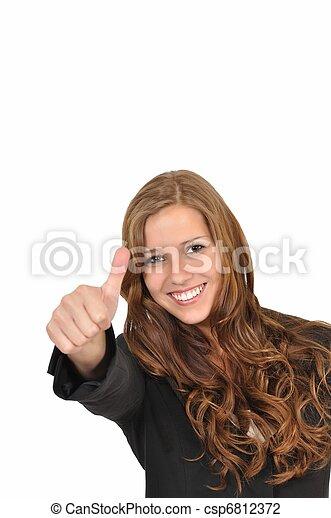 Gesch?ftsfrau im Anzug mit Daumen hoch - csp6812372