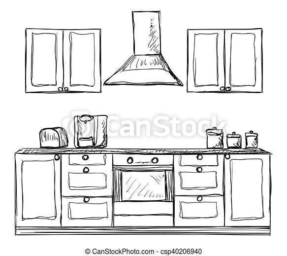 Geschirrschrank, regale, kueche , hand, gezeichnet