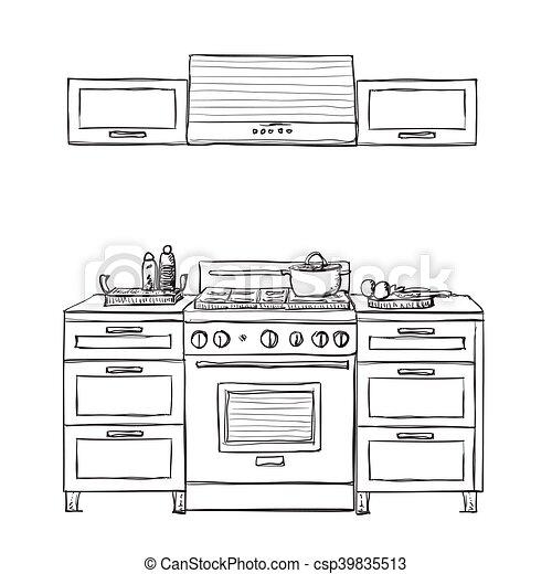 geschirrschrank shelves kueche geschirrschrank regale hand gezeichnet m bel kueche. Black Bedroom Furniture Sets. Home Design Ideas