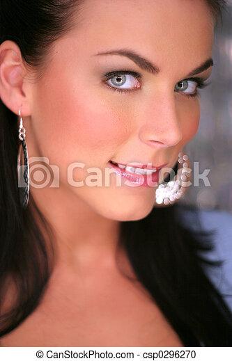 gesicht, brunette's, schöne  - csp0296270