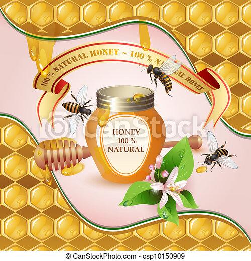 gesloten, pot, houten honey scheplepel - csp10150909