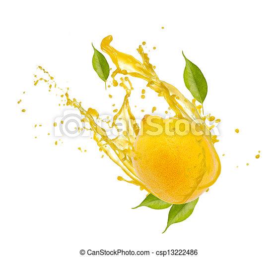 gespetter, witte , citroen, vrijstaand, achtergrond - csp13222486