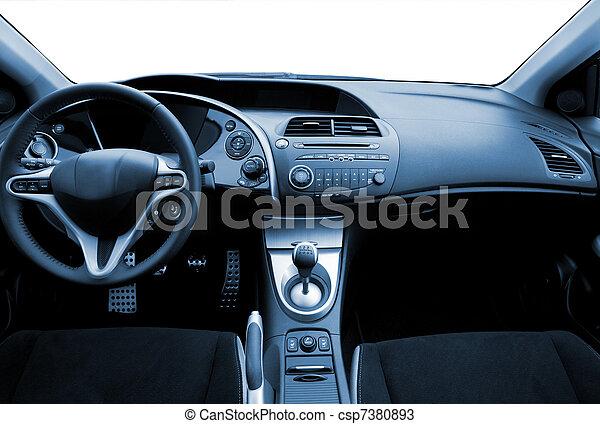 gestemd blauw, auto, moderne, interieur, sportende - csp7380893