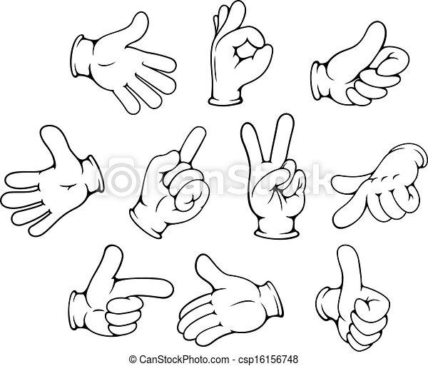 gestes, ensemble, dessin animé, main - csp16156748
