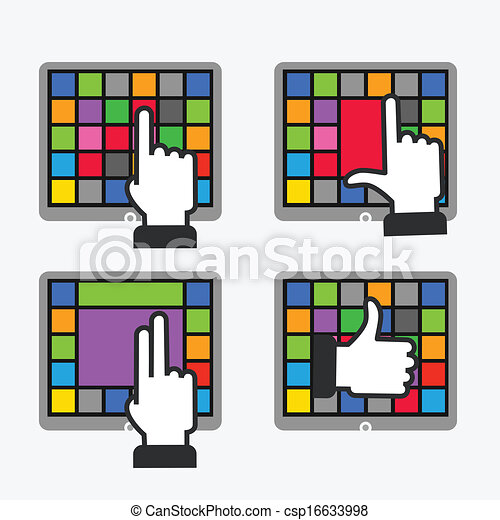 gestes, travail, couleur, moderne, gadgets, carreau, fondamental, interface - csp16633998