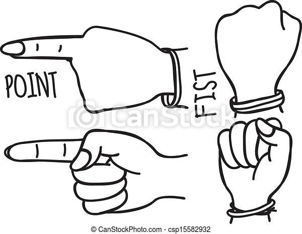 gesti, scarabocchiare, mano - csp15582932