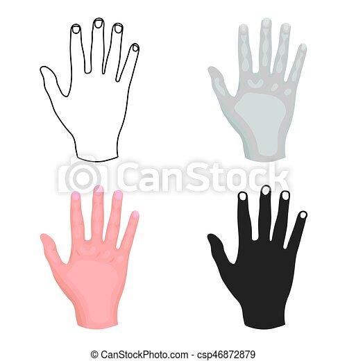 gesti, stile, illustration., simbolo, isolato, mano, alto, fondo., vettore, cinque, bianco, icona, cartone animato, casato - csp46872879