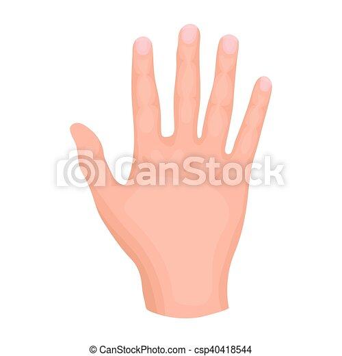 gesti, stile, illustration., simbolo, isolato, mano, alto, fondo., vettore, cinque, bianco, icona, cartone animato, casato - csp40418544