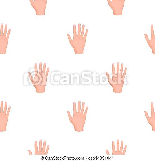 gesti, stile, illustration., simbolo, isolato, mano, alto, fondo., vettore, cinque, bianco, icona, cartone animato, casato - csp44031041