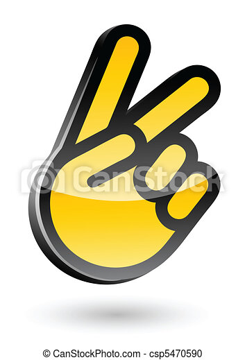 gesticulate hand victory sign vector illustration isolated on white background - csp5470590