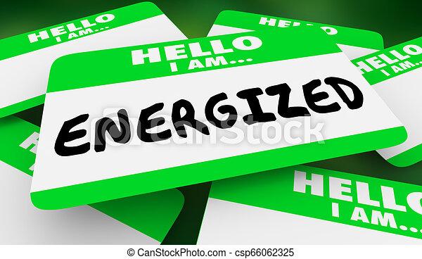 gestimuleerde, naam, energie, illustratie, label, actief, hallo, 3d - csp66062325