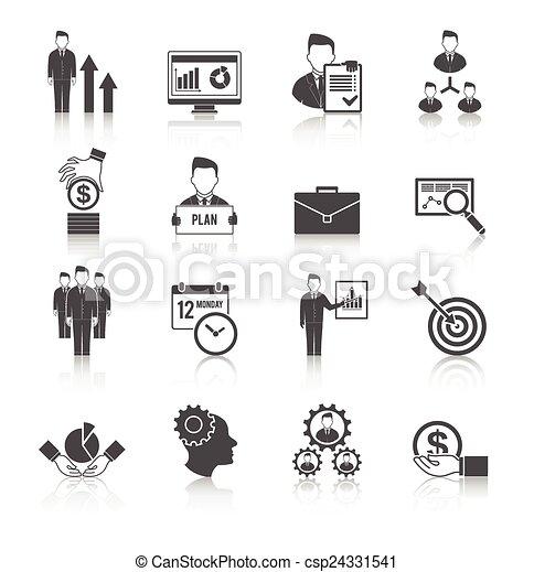 gestion, ensemble, icône - csp24331541