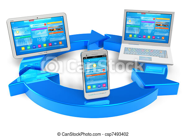 gestion réseau, calculer, nuage, sans fil, concept - csp7493402