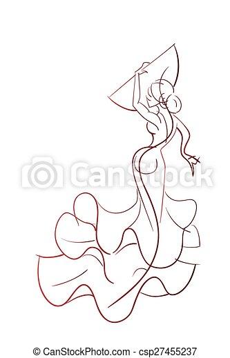 Gesture drawing flamenco dancer expressive pose - csp27455237