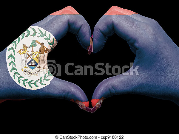 Gesture made by belize flag colored hands showing symbol of heart and love - csp9180122