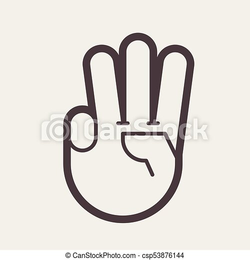 Gesture with three fingers up - csp53876144